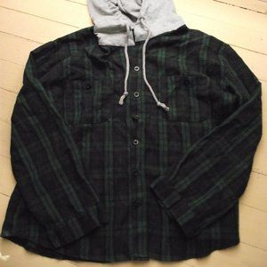 Shein XL Plaid Button-Up with Hood